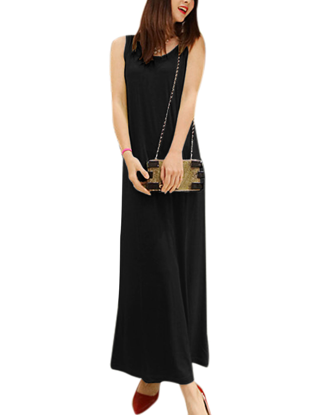 Lady Casual Round Neck Sleeveless Pullover Full-Length Straight Dress Black S