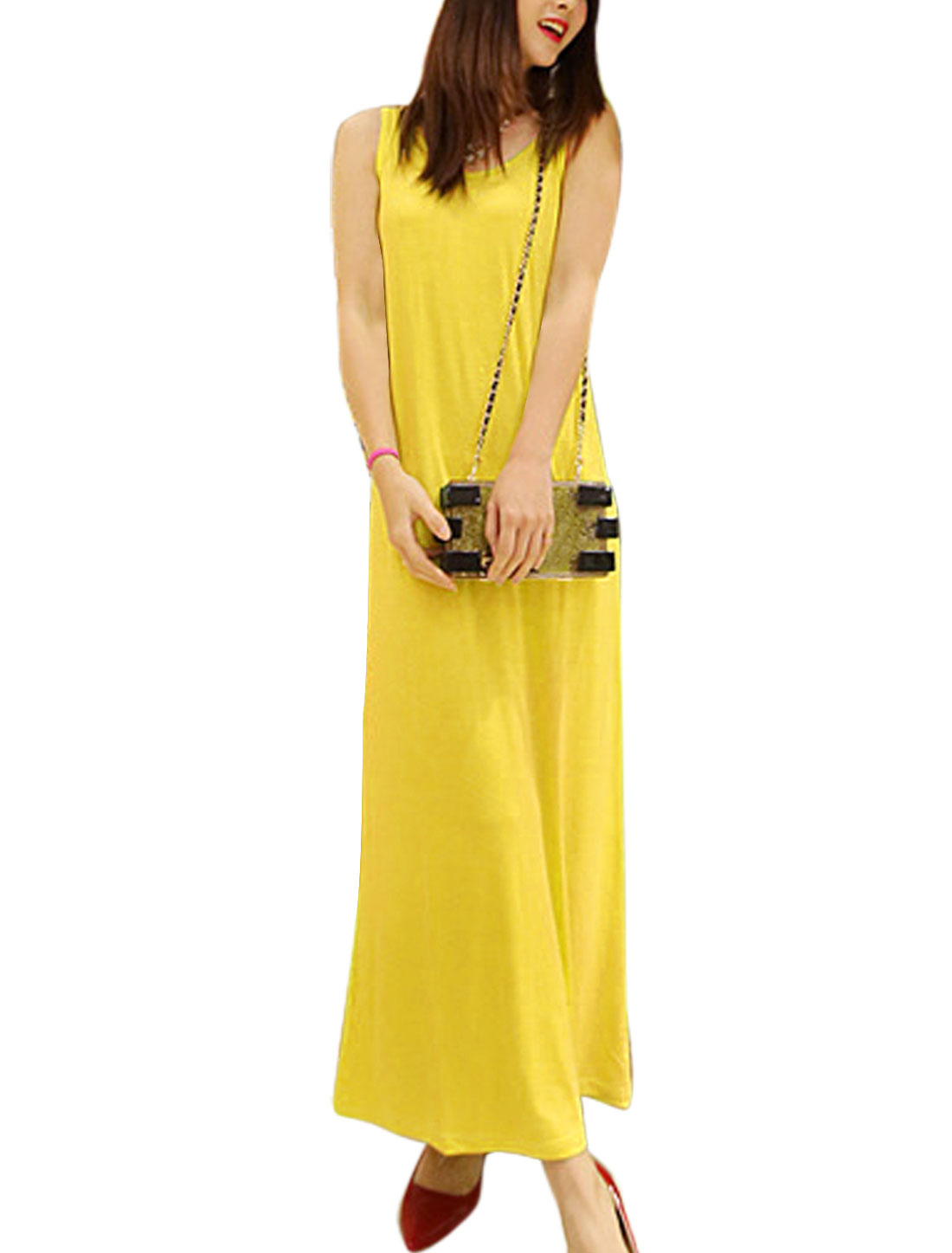 Lady Casual Round Neck Sleeveless Full-Length Straight Dress Yellow S