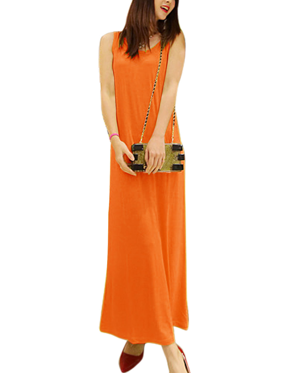Lady Casual Round Neck Full-Length Straight Dress Orange S