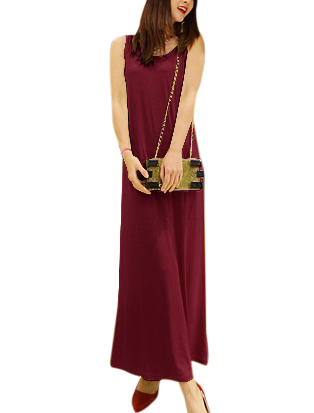 Lady Casual Round Neck Sleeveless Pullover Long Straight Dress Burgundy S