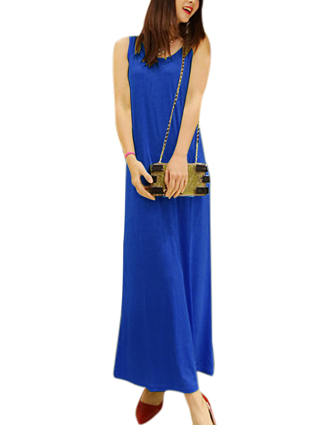 Lady Round Neck Sleeveless Slipover Long Straight Dress Blue S