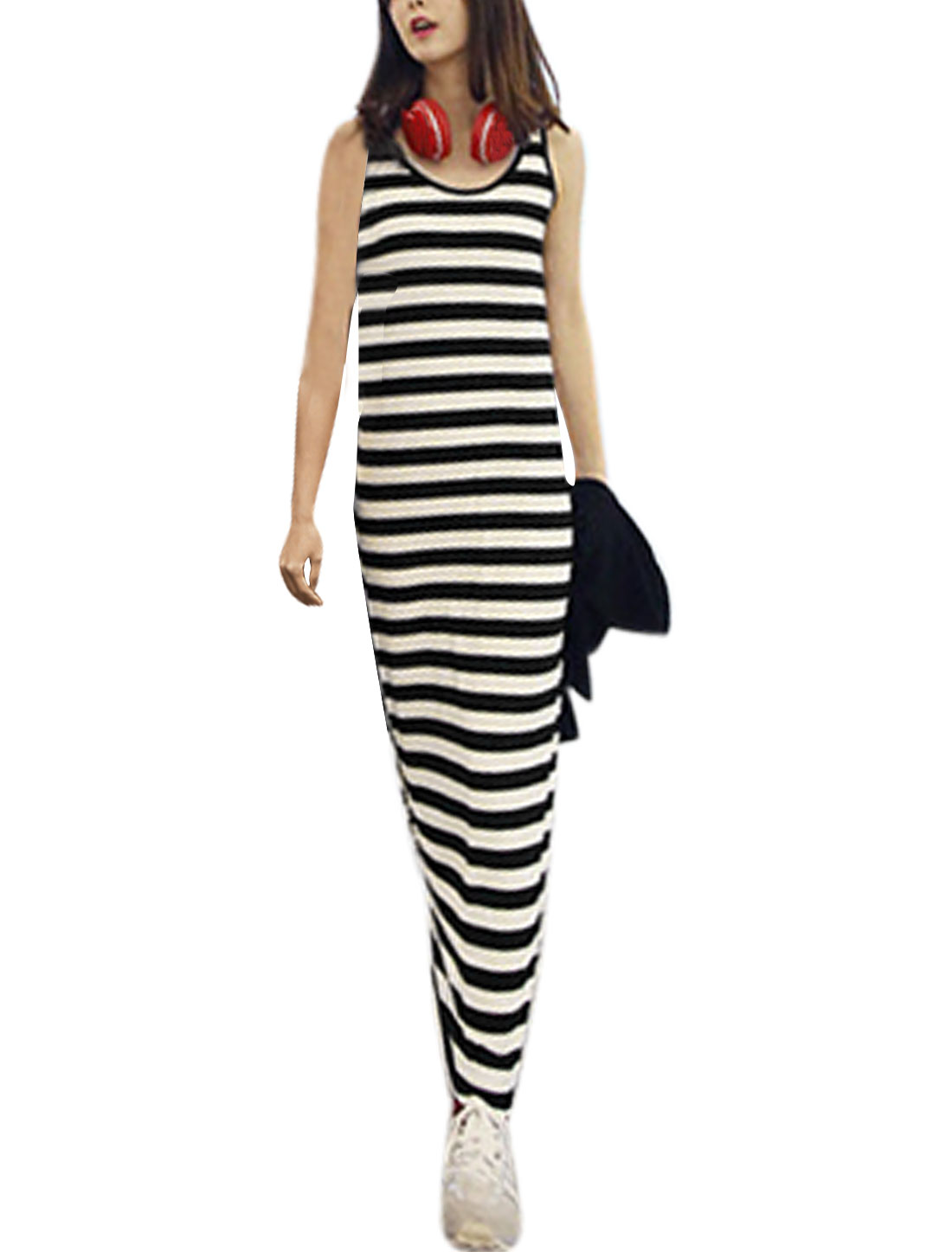Lady Stripes Pattern Round Neck Pullover Full-Length Straight Dress Black White S