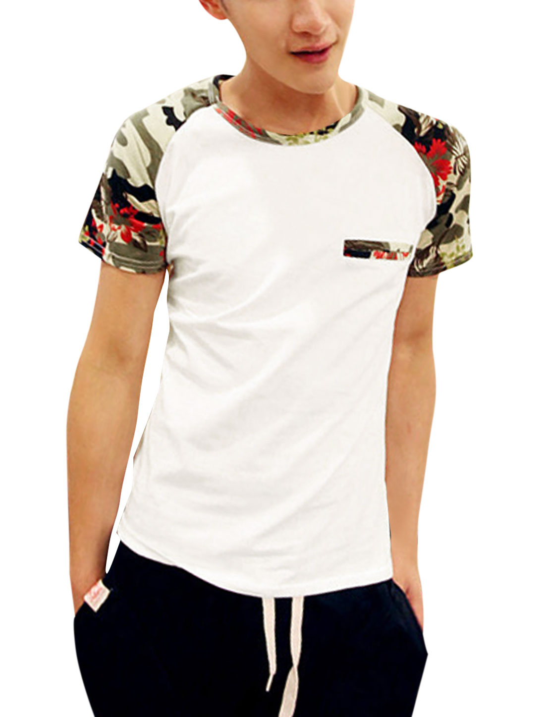 Men Floral Prints Round Neck Raglan Short Sleeve Casual T-Shirt White M