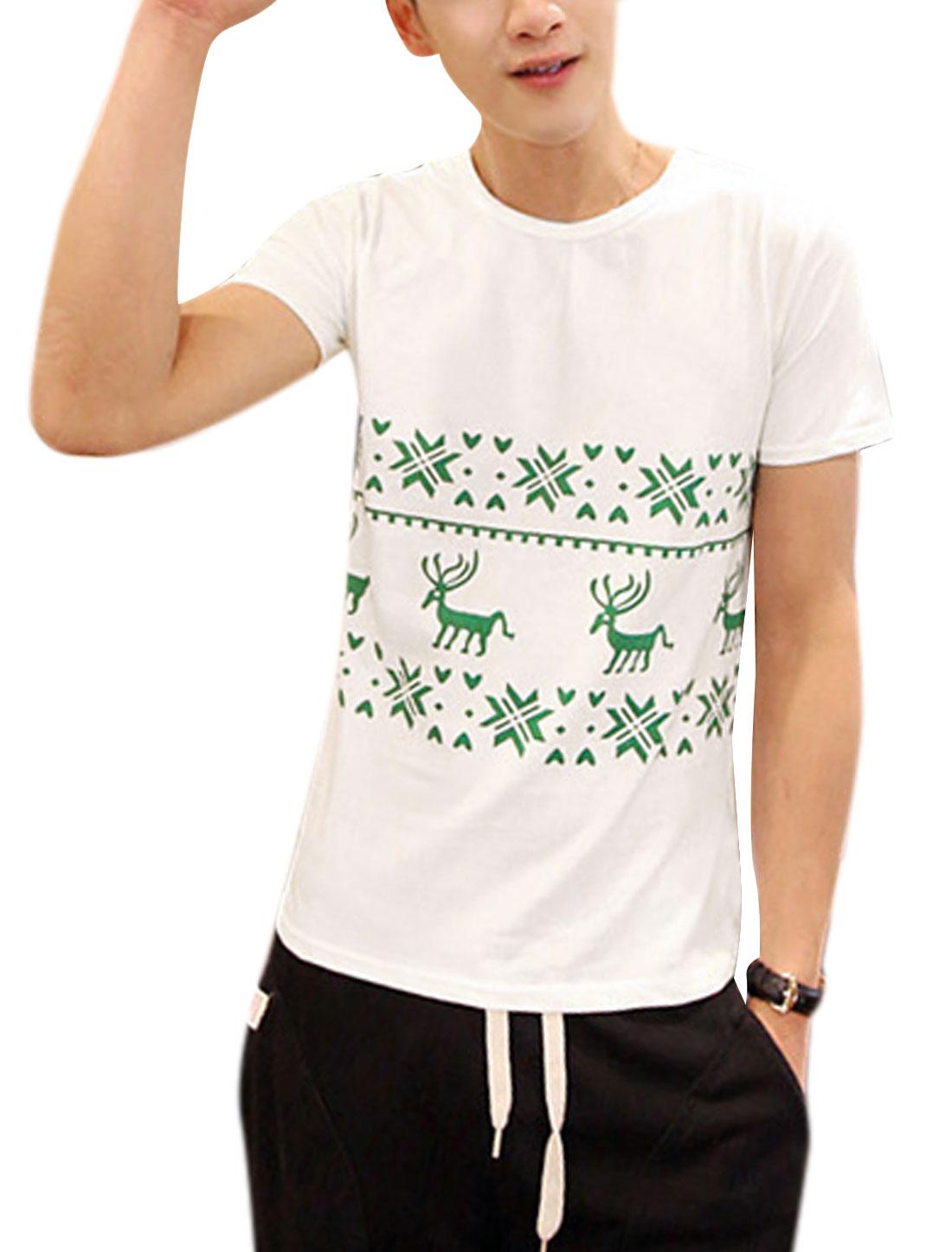 Men Geometric Prints Round Neck Short Sleeve T-Shirt White M