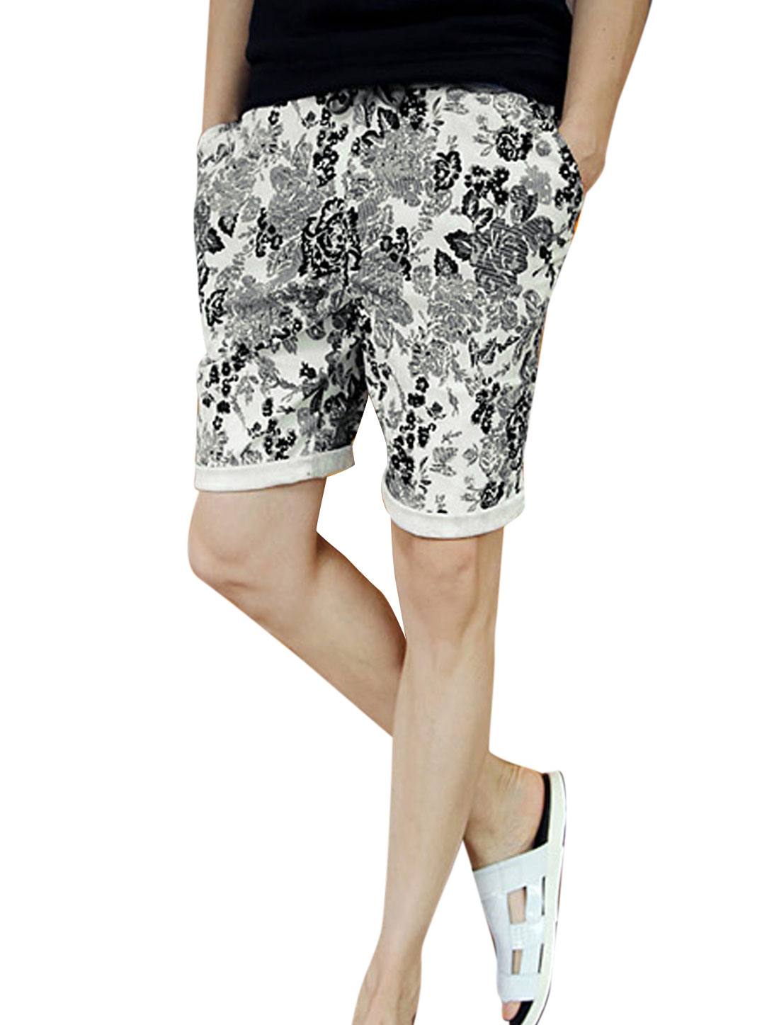 Man Flower Pattern Stretchy Waist Slim Fit Design Casual Short Pants Gray W28