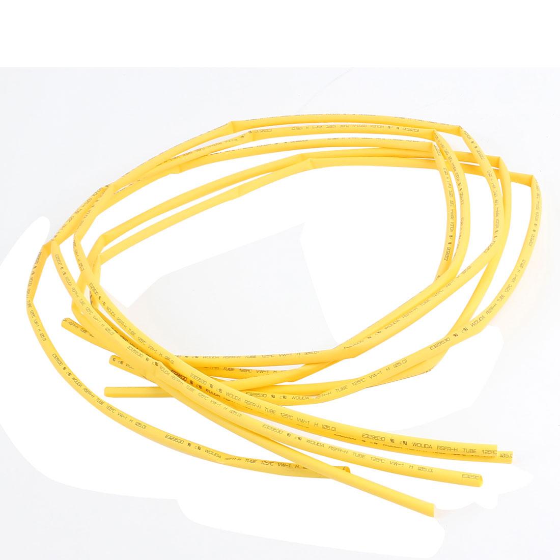 1M 5mm Dia Ratio 2:1 Heat Shrinking Shrinkable Tube Tubing Yellow 5 Pcs