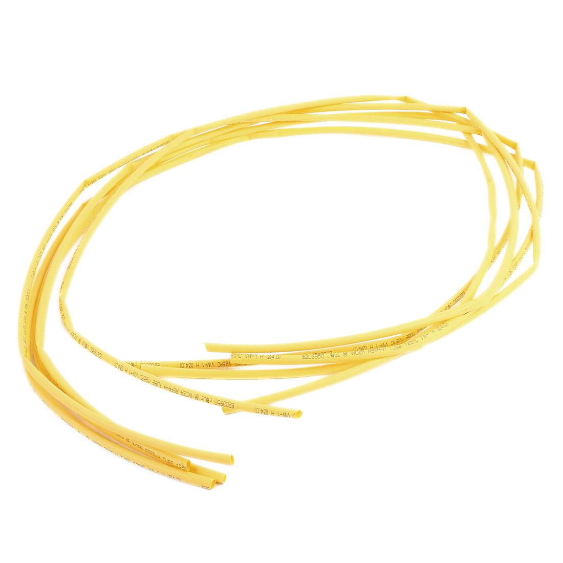 1M 4mm Dia Polyolefin Heat Shrinking Shrinkable Tubing Tubes Yellow 5 Pcs
