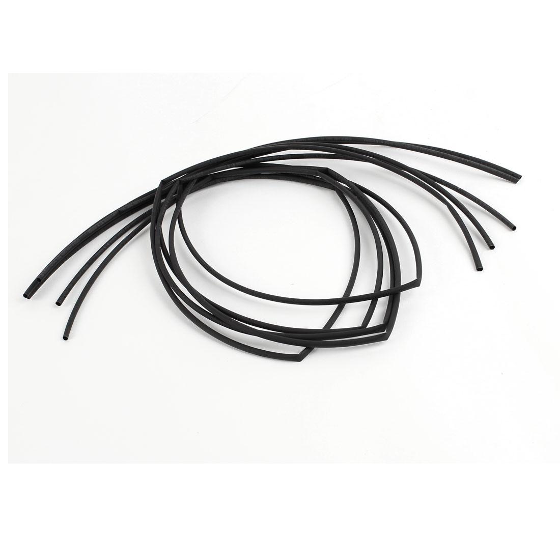 3.3Ft 3mm Dia Ratio 2:1 Heat Shrinking Shrinkable Tube Tubing Black 5 Pcs