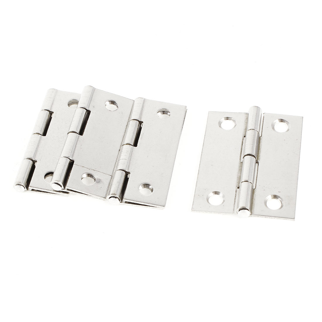 "4 Pcs 1.7"" 44mm Length Stainless Steel Window Door Butt Hinges Silver Tone"