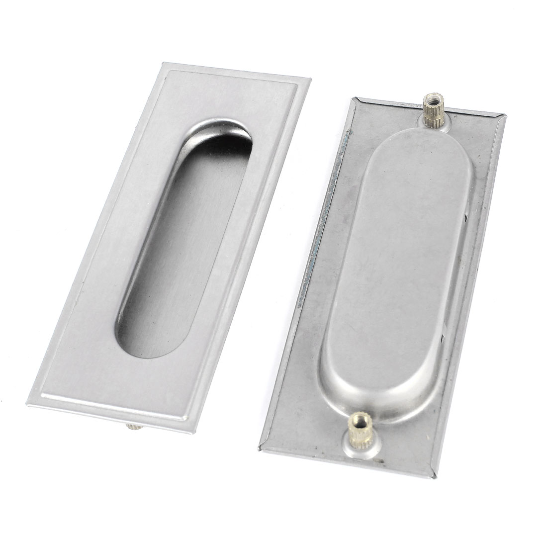 2 Pcs Cabinet Drawer Rectangle Flush Type Pull Concealable Handle Silver Tone 110mmx40mm