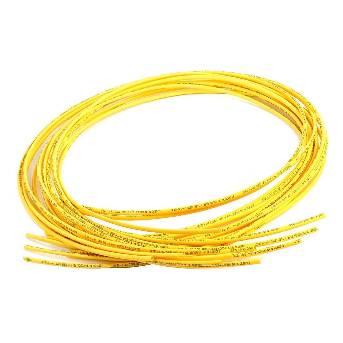 Ratio 2:1 Yellow Polyolefin 3mm Dia Heat Shrink Shrinkable Tube 3.3Ft 12 Pcs