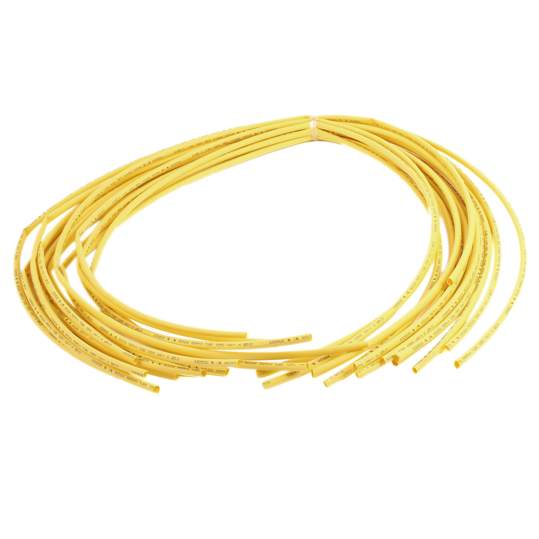 3.3Ft 5mm Dia Ratio 2:1 Heat Shrinking Shrinkable Tube Tubing Yellow 14 Pcs