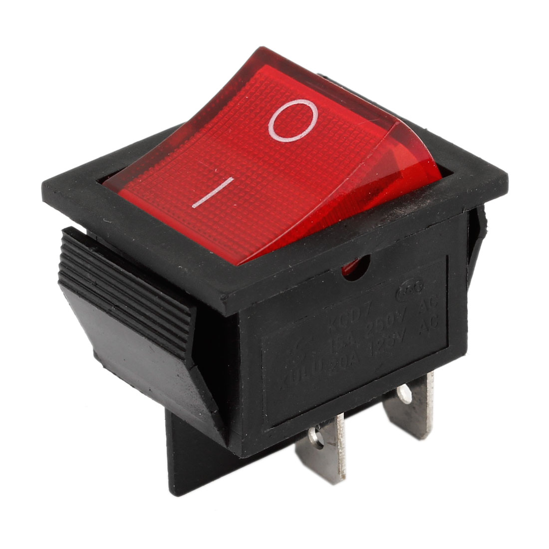 AC 250V 15A 125V 20A 4 Pins DPST I/O 2 Position Red Light Panel Mounted Snap in Boat Rocker Switch