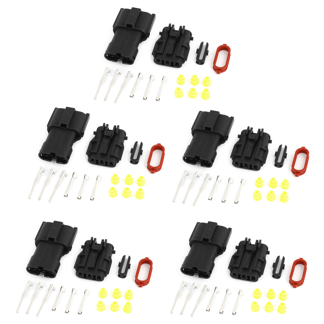 5 Set 3-Terminals 3 Positions Waterproof Wire Sealed Connectors for Car Stereo