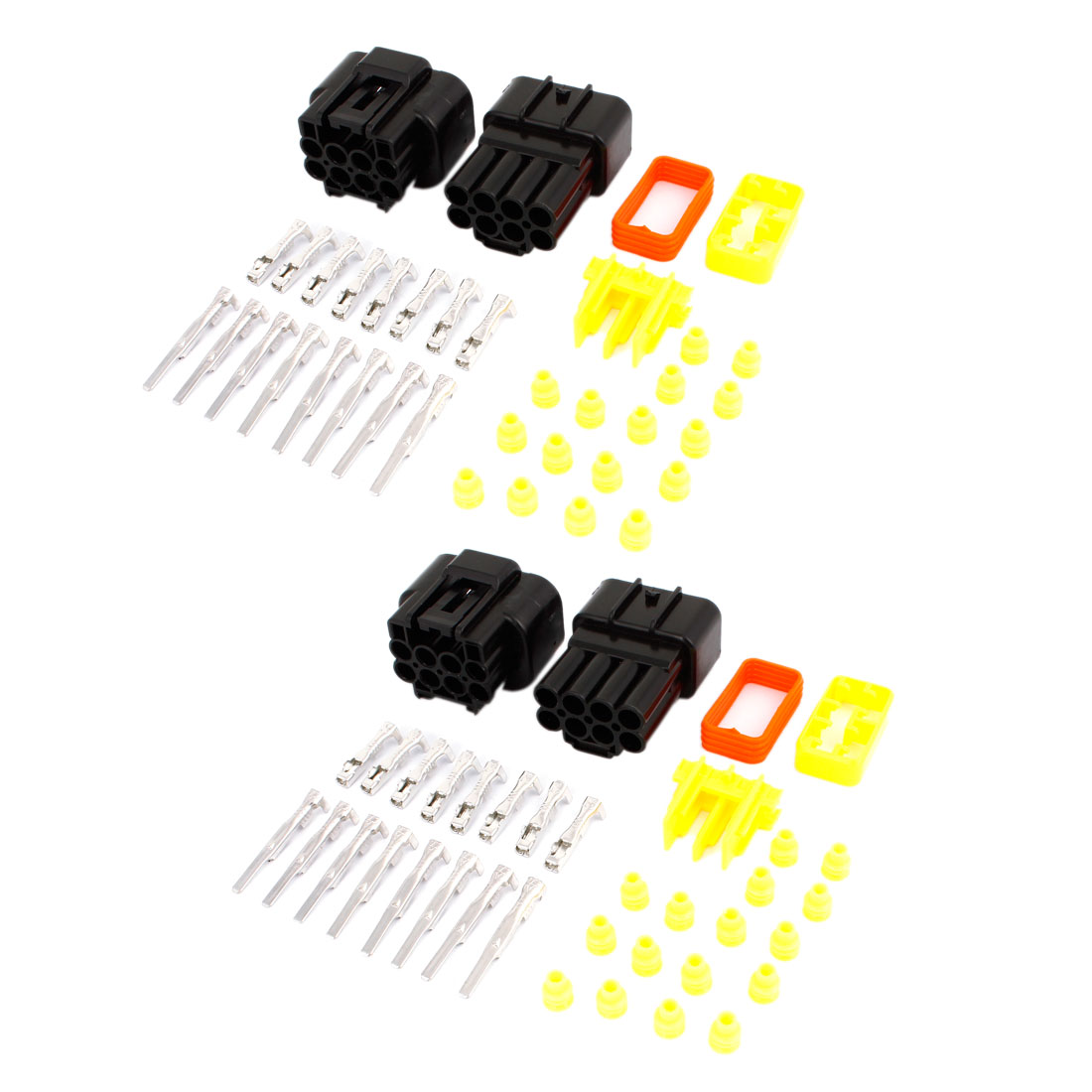 2 Set 8-Pin 8 Way Sealed Waterproof Cable Connectors Plugs for Car Auto Stereo