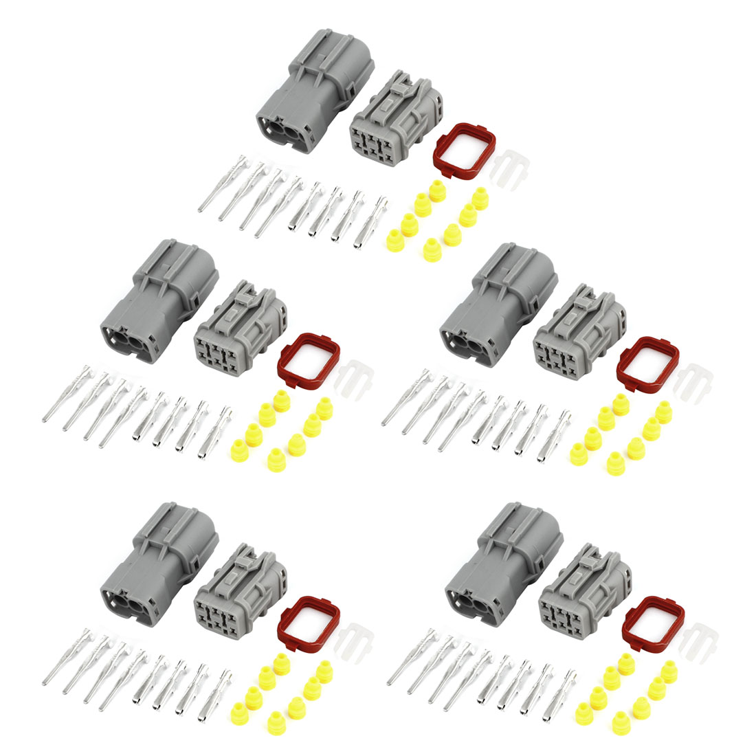 5 Set Sealed Waterproof Connector Kit 1.8mm Terminal Heat Sockets Gray for Car Auto