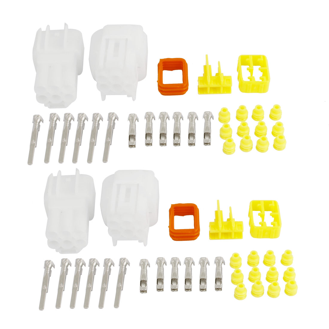 2 Set Sealed Weather Proof Connector Kit 2.3mm Terminal Heat Plugs White for Car Auto