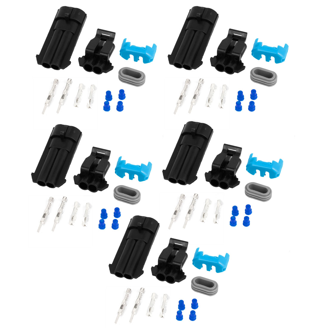 5 Set 2 Positions Waterproof Wire Connectors Sockets for Car Auto Stereo