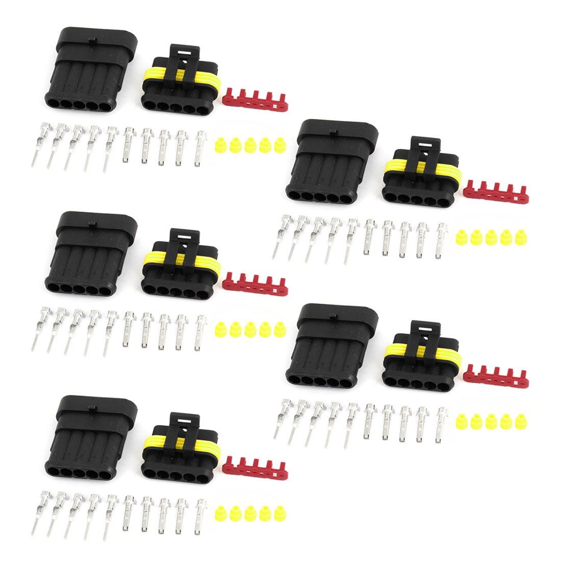 5 Kits 5-Pin 5 Positions Waterproof Wire Connectors Plugs for Car Auto Stereo