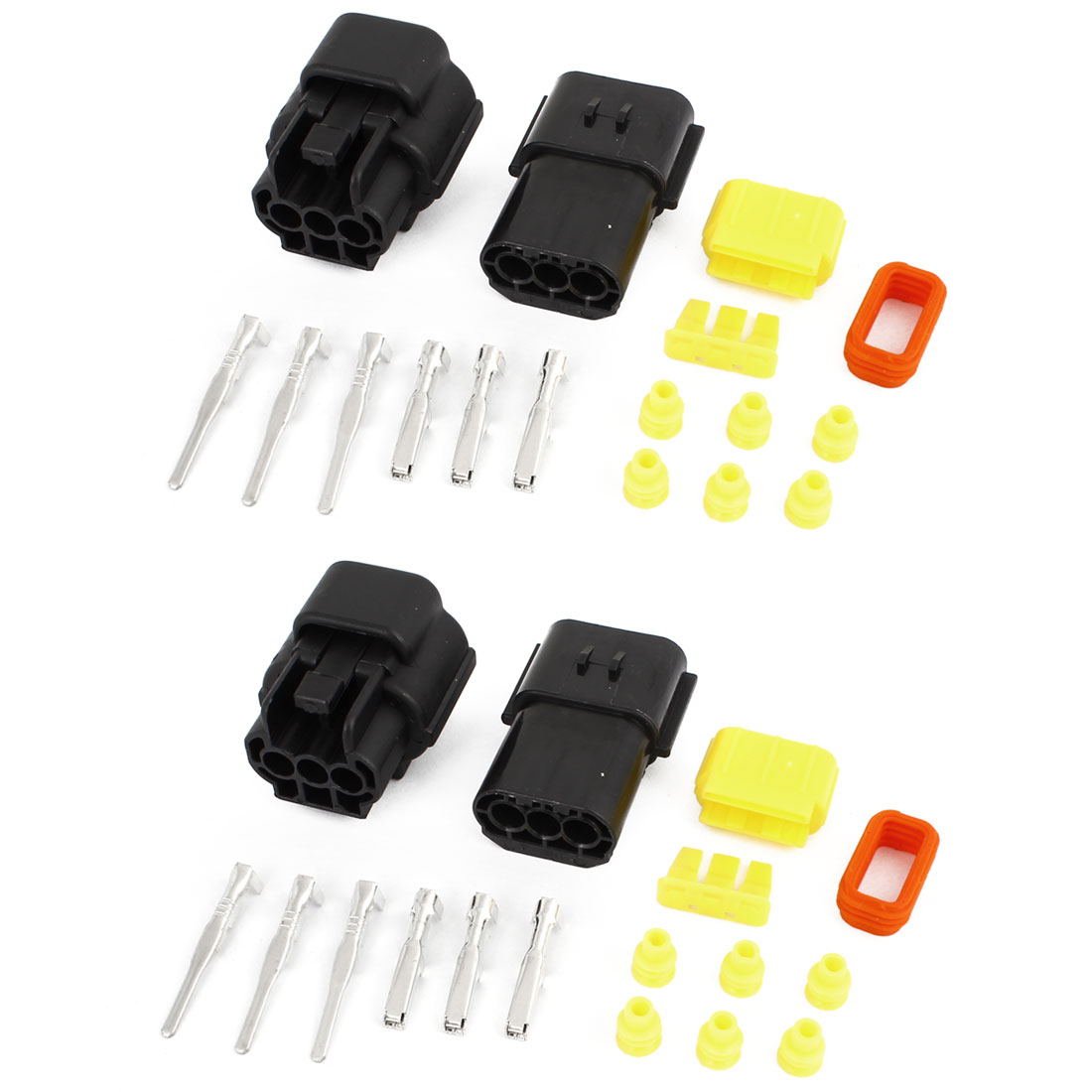 2 Set 3-Terminals 3 Positions Sealed Waterproof Cable Connectors for Car Auto Stereo
