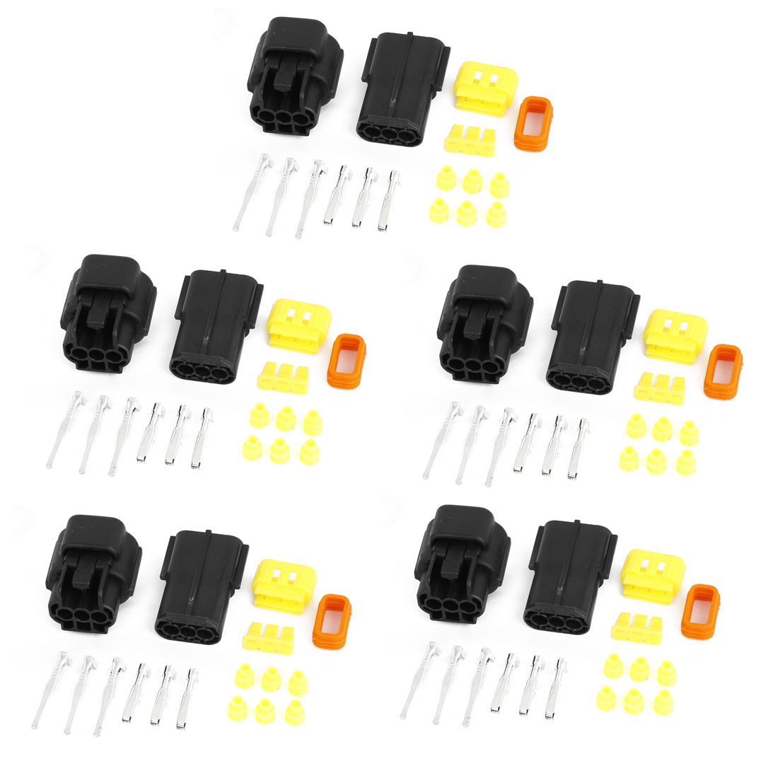 Wire Connector sets 3 Terminals Waterproof Electrical Car Motorcycle HID 5 Kits