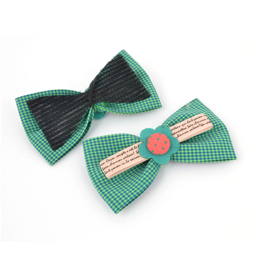 2 Pieces Green Mini Grids Print Bowtie Shape Foretop Bang Hair Magic Sheets