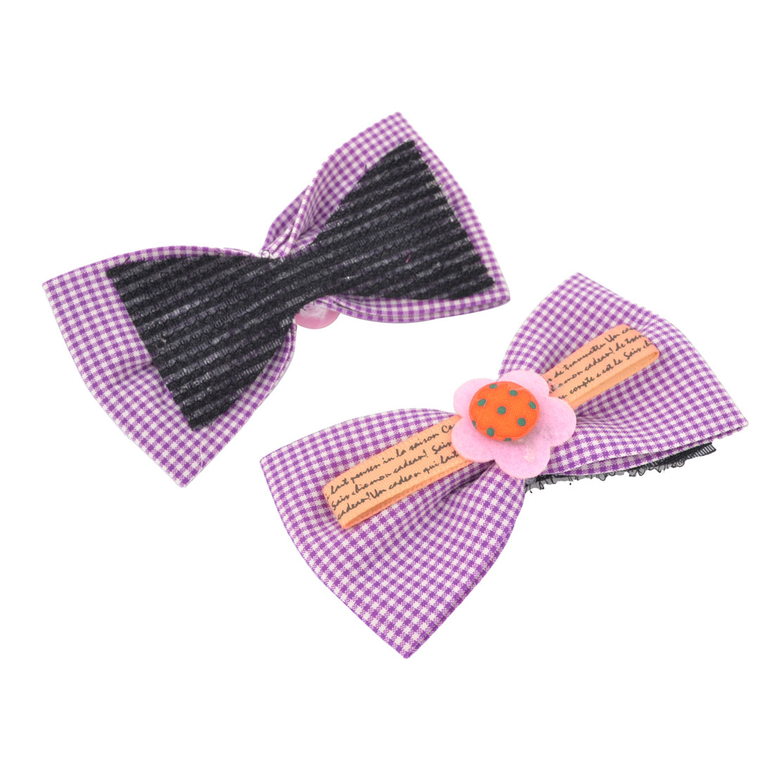 2 Pieces Purple Mini Grids Pattern Bowtie Shape Foretop Bang Hair Magic Sheets