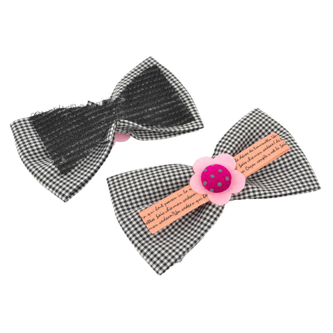 2 Pcs Flower Accent Black White Bowtie Hair Bangs Magic Sheets for Ladies