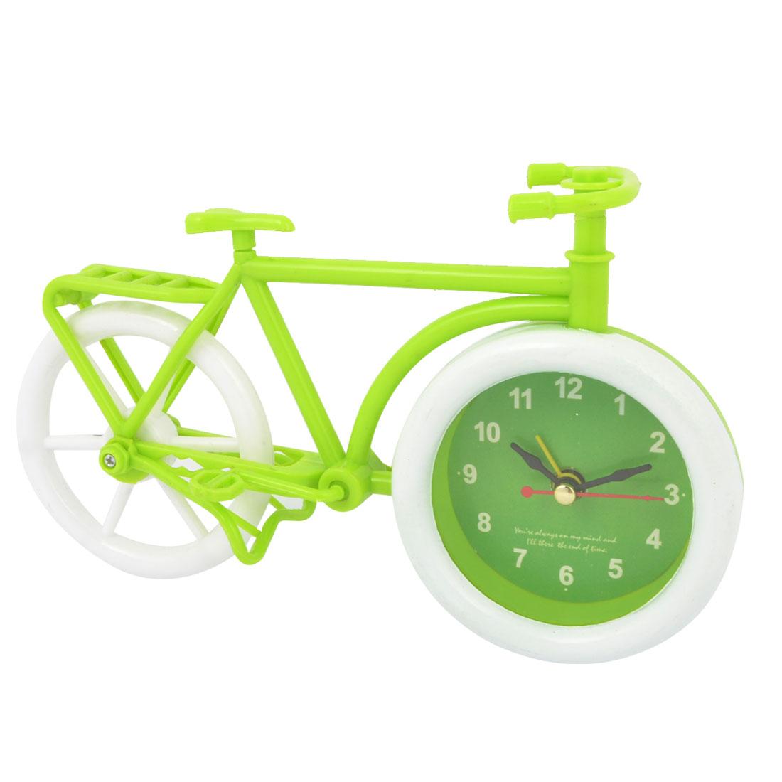 Bicycle Design White Green Plastic Arabic Numbers Dial Desktop Alarm Clock