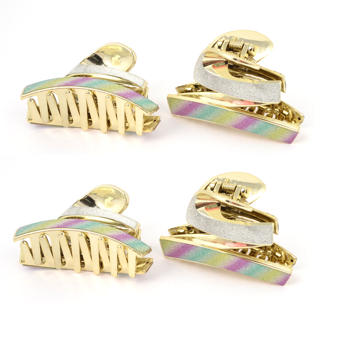 12 Pcs Gold Tone Plastic Teeth Colorful Rainbow Pattern Hairclip Hair Clamp Claw for Lady
