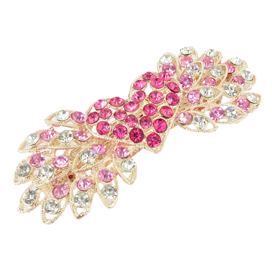Pink Glittery Rhinestone Detail Flower Design Gold Tone Metal Hair French Clip Barrette for Lady Women