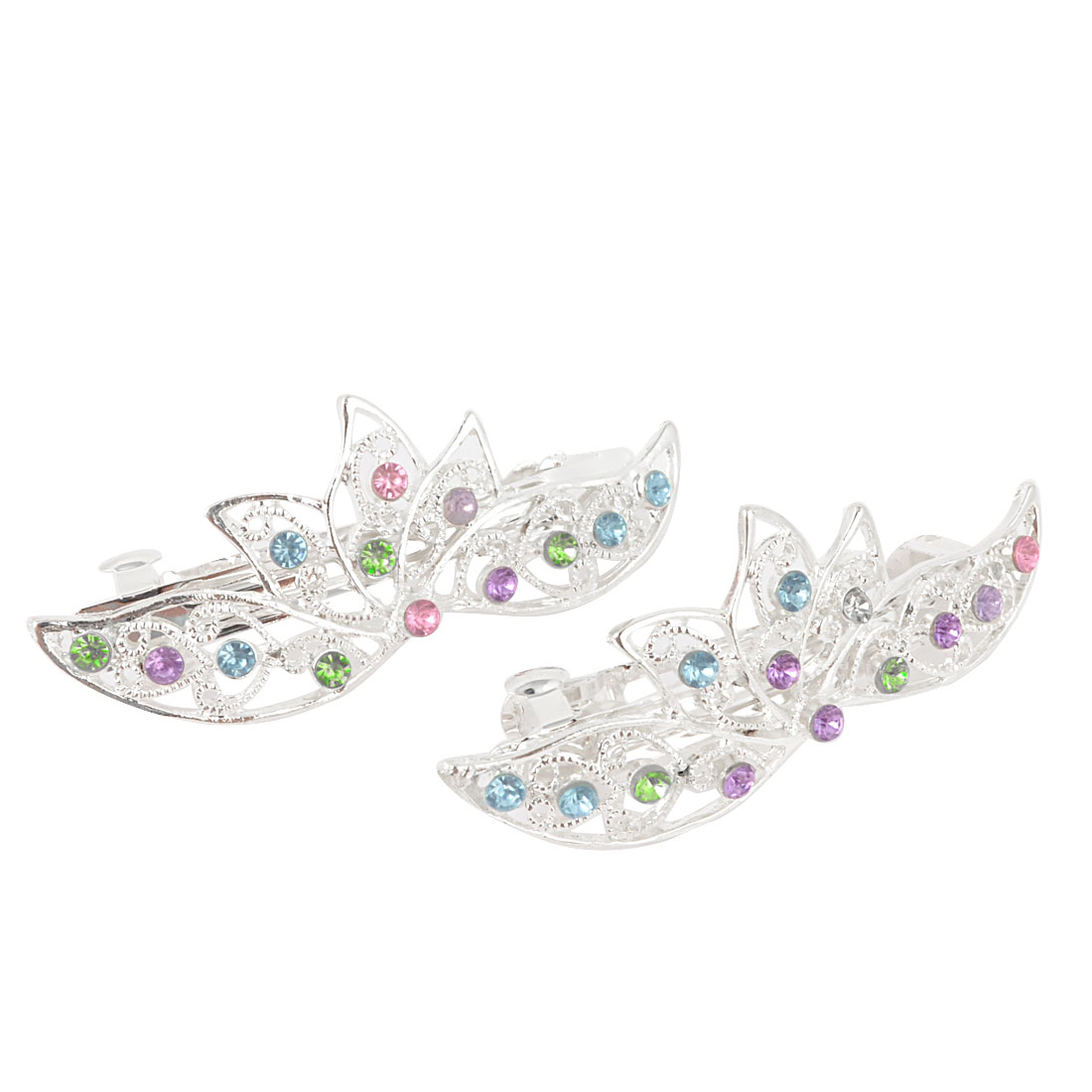 Ladies Purple Blue Green Rhinestone Detail Fashion Style Spring Loaded Metal Hair Clip 2 Pcs
