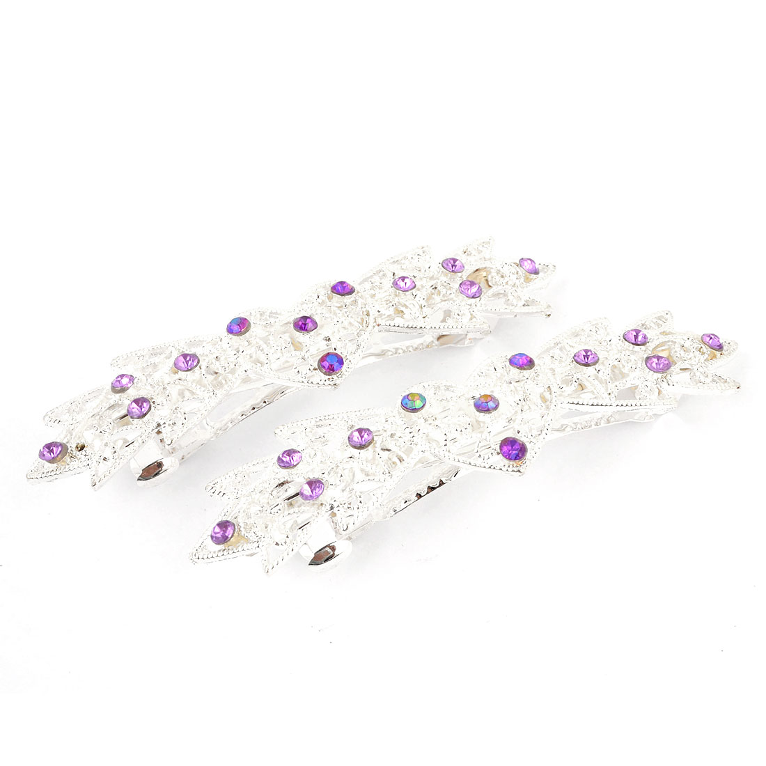Lady Purple Rhinestone Decor Silver Tone Metal French Clip Hair Barrette 2pcs