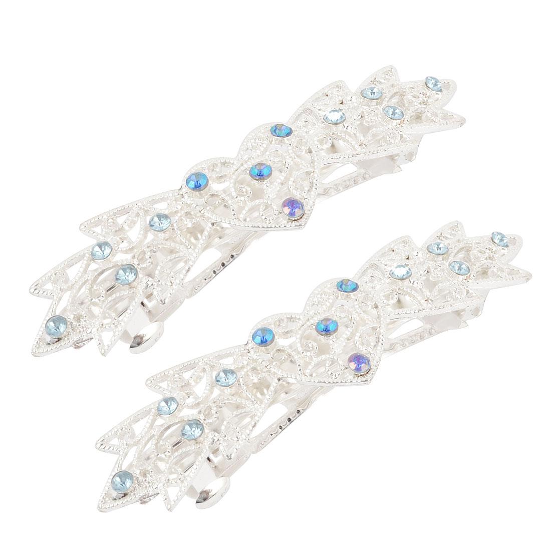 Lady Ornament Blue Rhinestone Decor Metal French Clip Hair Barrette 2pcs