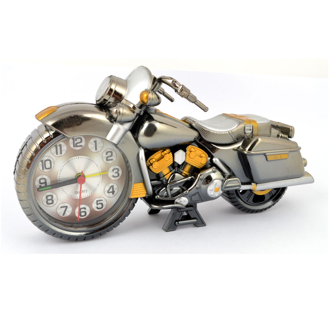 Motorcycle Design Dark Gray Plastic Arabic Numbers Dial Desktop Alarm Clock