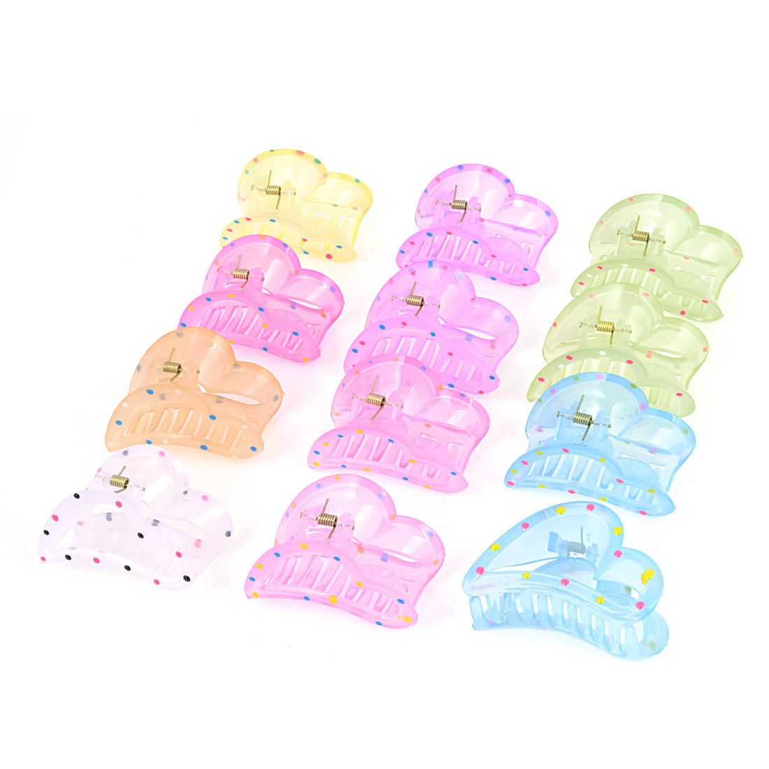 12 PCS Dots Prints Heart Shaped Assorted Color Plastic Hair Claw Clips