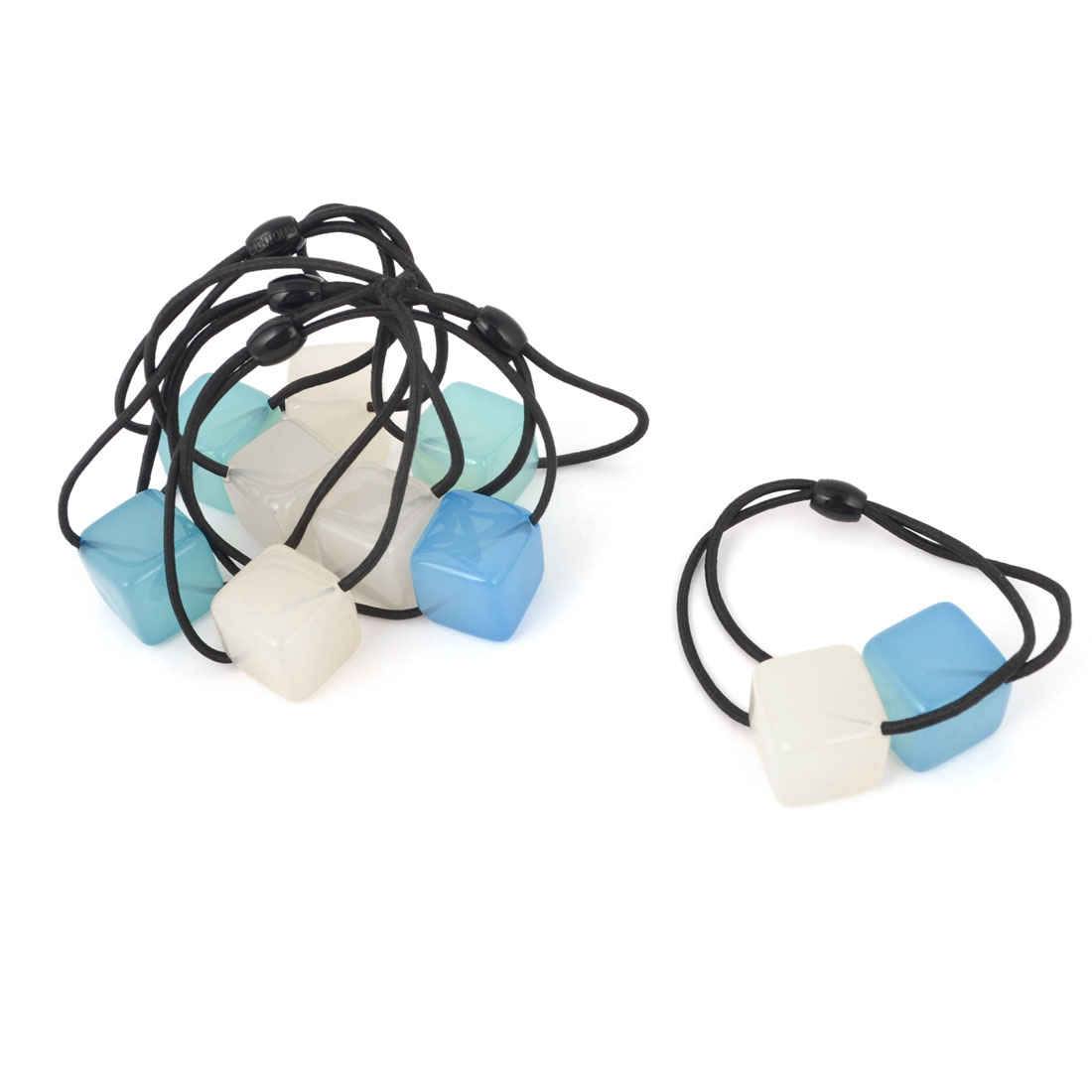 Lady Blue Beige Square Bead Decor Stretchy Hair Tie Ponytail Holder 5 PCS