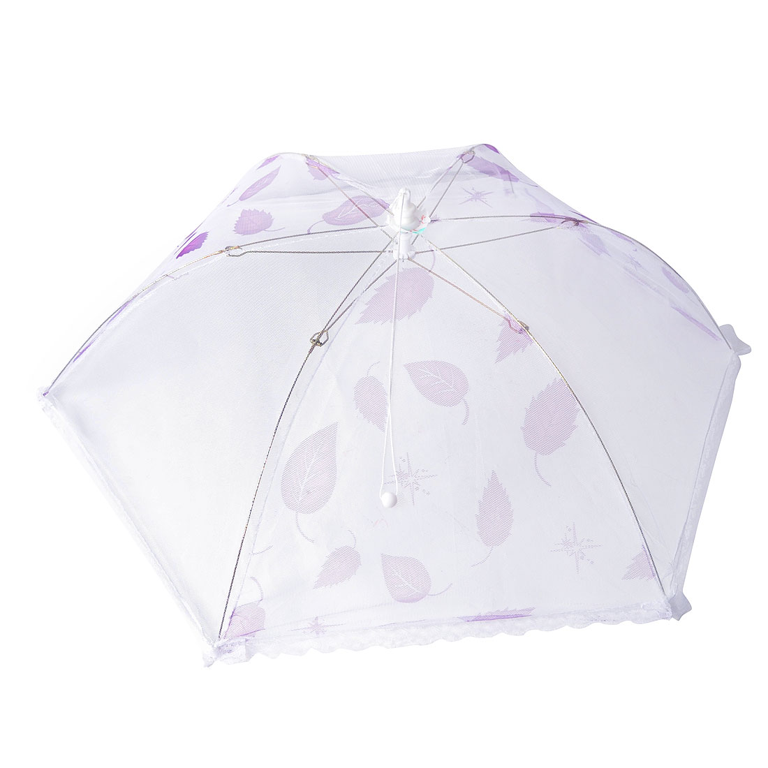 Home Metal Frame Nylon Netty Umbrella Shaped Foldable Table Food Cover Purple