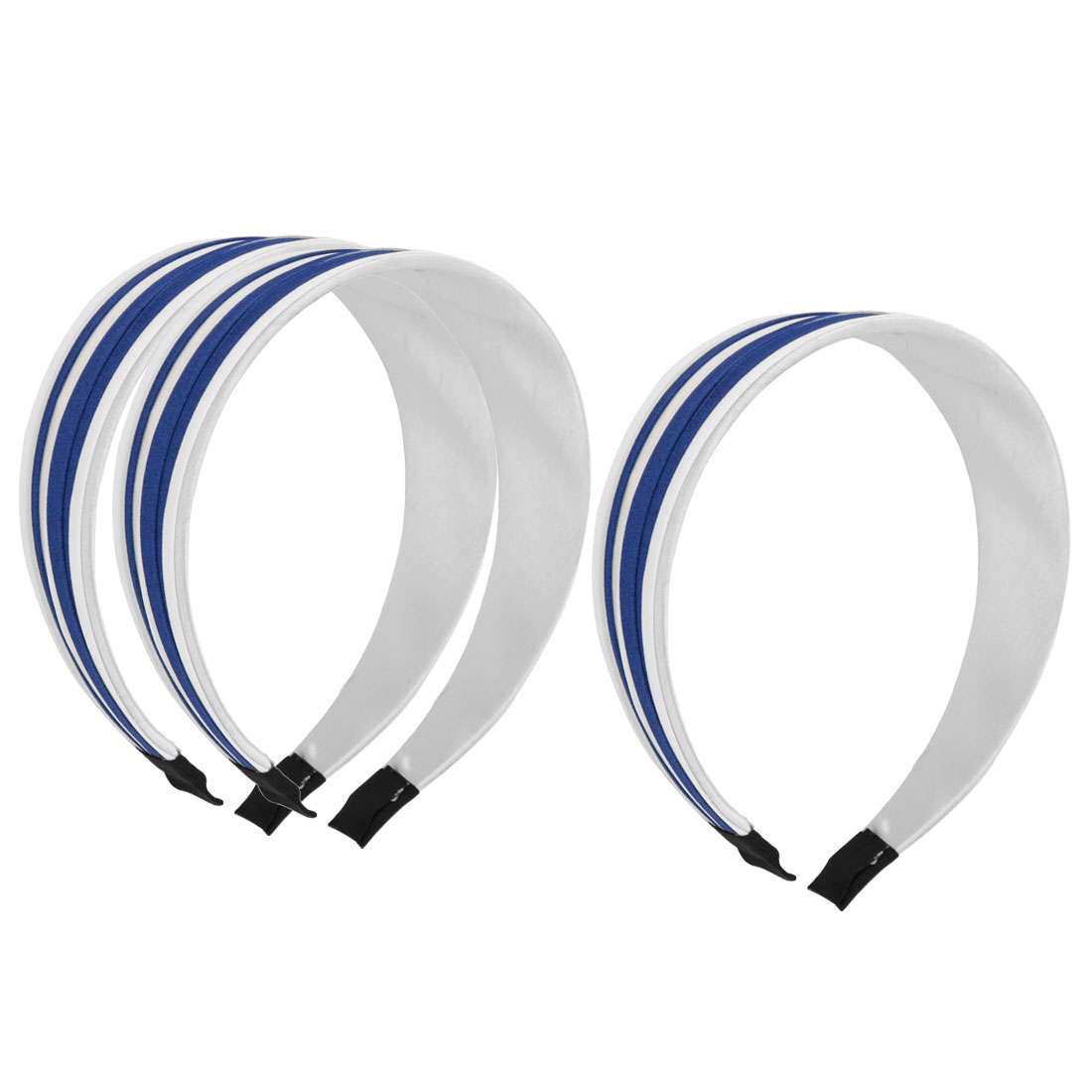 "3 Pcs Blue White Nylon Cloth Wrap Headdressing 1.5"" Width Plastic Frame Wide Hair Band Hair Hoop for Lady"