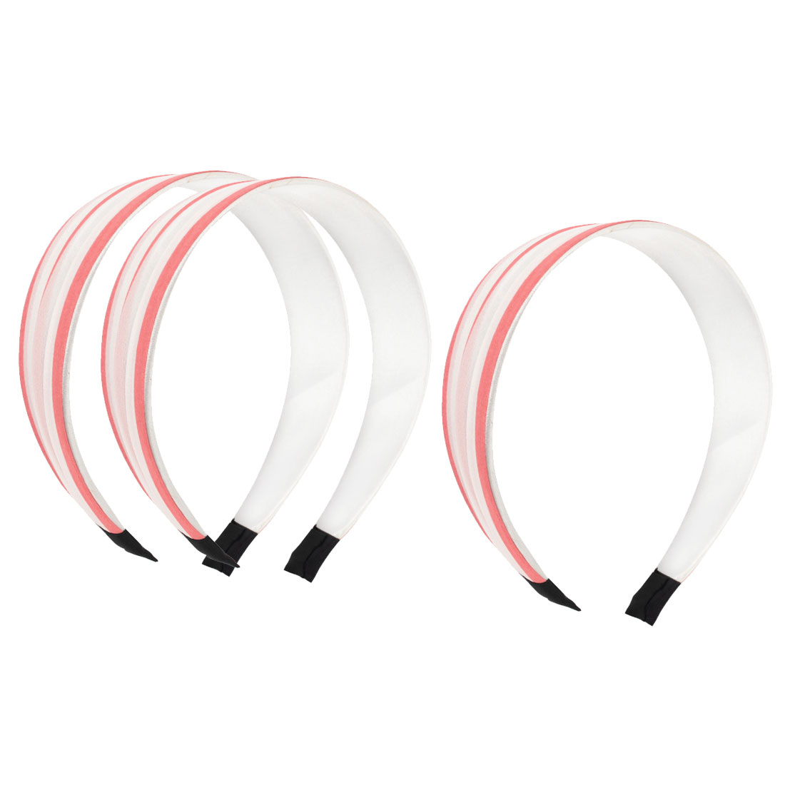 "3 Pcs Pink White Nylon Cloth Wrap Headdressing 1.5"" Width Plastic Frame Wide Hair Band Hair Hoop for Lady"