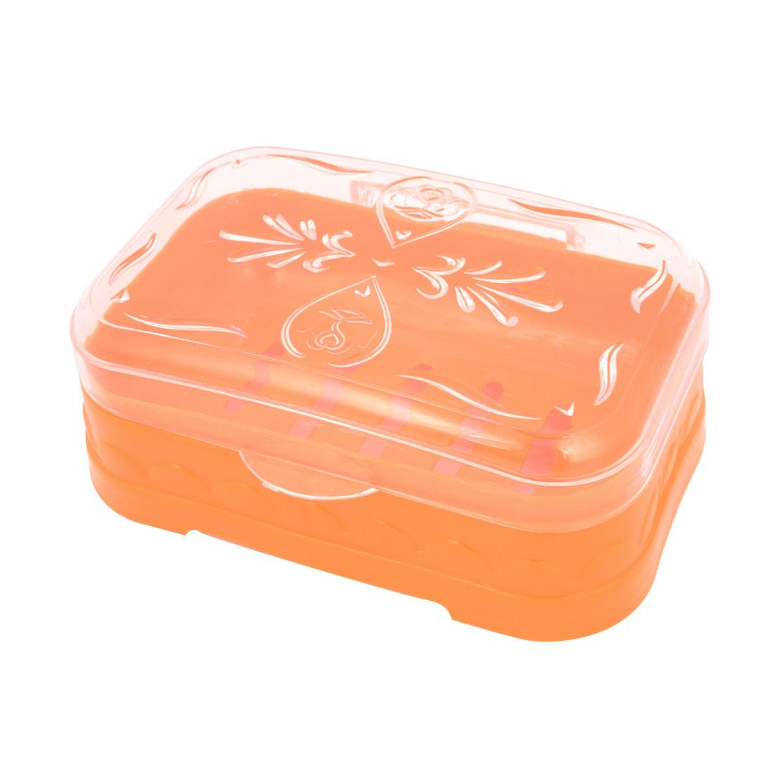 Bathroom Perforating Bottom Plastic Soap Box Case Holder Orange Clear