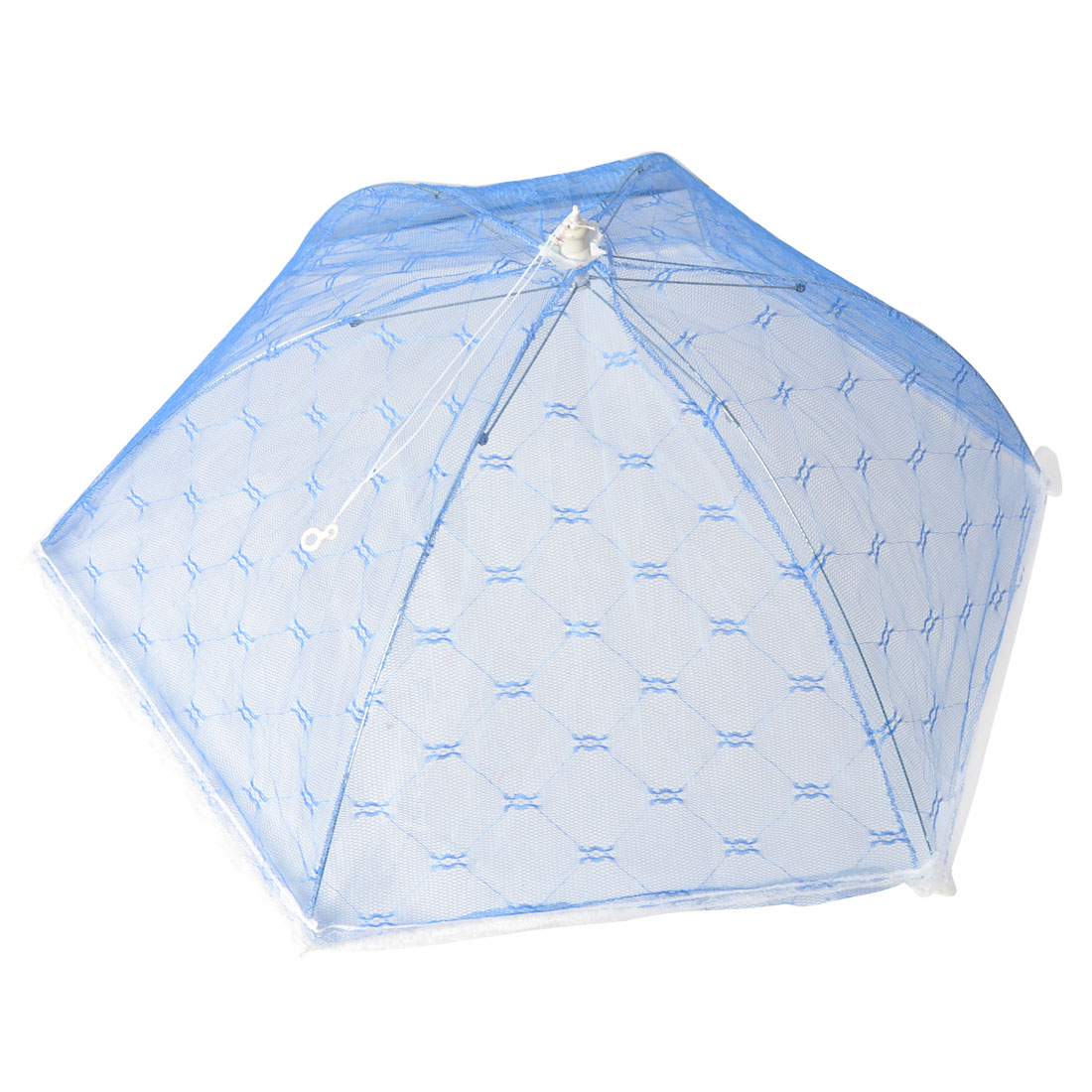 Home Metal Frame Nylon Netty Umbrella Shaped Foldable Table Food Cover Blue