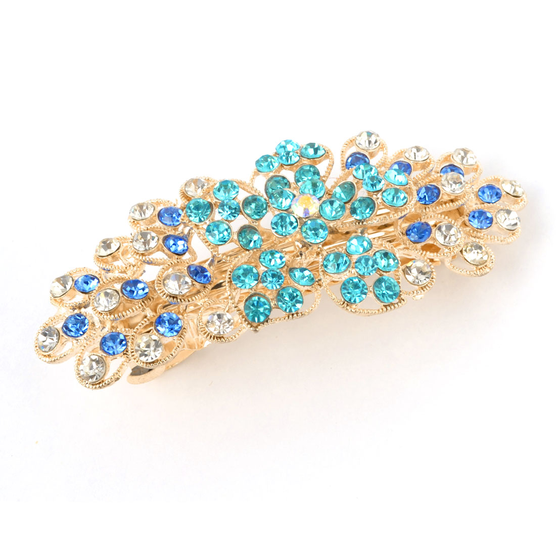 Blue Teal Glitter Rhinestone Detail Flower Design Gold Tone Metal French Hair Clip Barrette for Women