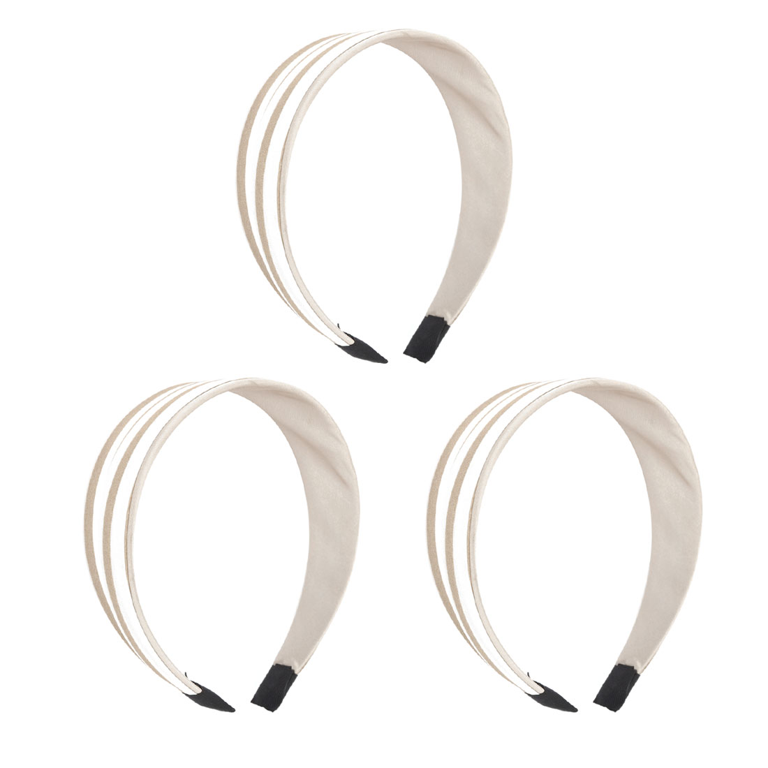 "3 Pcs Beige White Nylon Cloth Wrap Headdressing 1.5"" Width Plastic Frame Wide Head Band Hair Hoop for Lady"