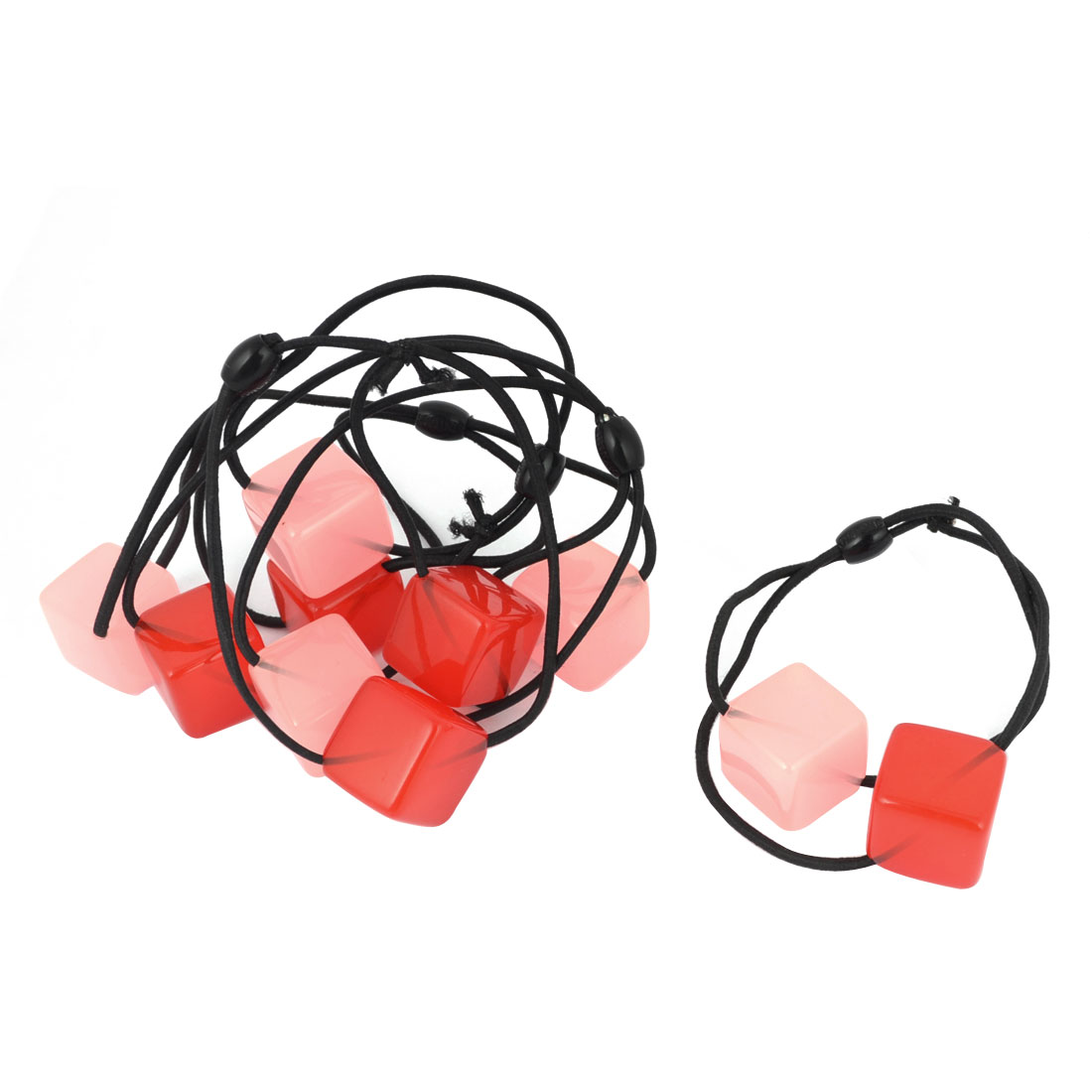 Women Plastic Cubic Detail Elastic Hair Tie Ponytail Holder Pink Red 5 Pcs