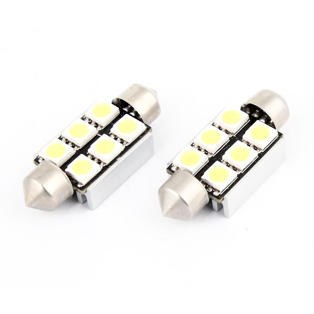 2PCS 36mm 5050 6-LED Error Free Festoon Dome Map Reading Light White Internal