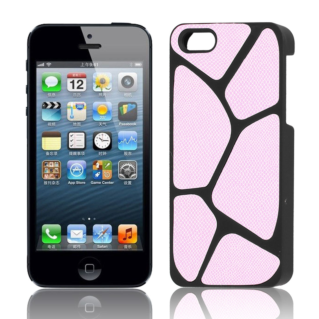 Pink Black Cobblestone Pattern Plastic Back Case Cover Guard for iPhone 5 5G 5th