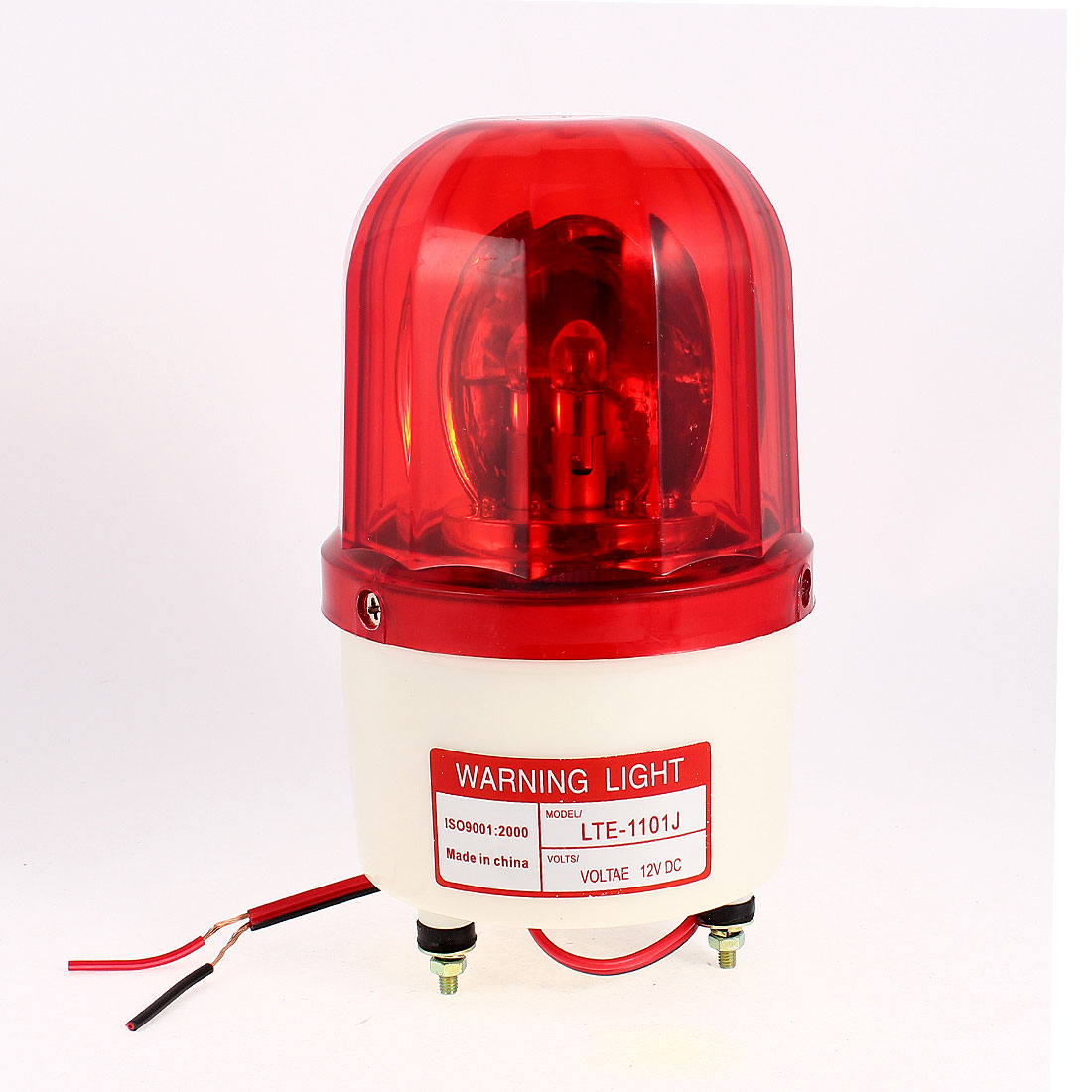 Industrial DC12V Flash Siren Emergency Rotary Warning Lamp Light Red