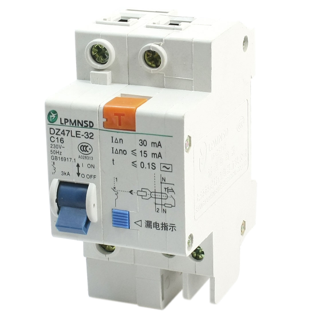 AC230V 16A DZ47LE-1P/16A DIN Dail 1P Rail Mounting Overload Proetction Circuit Breaker