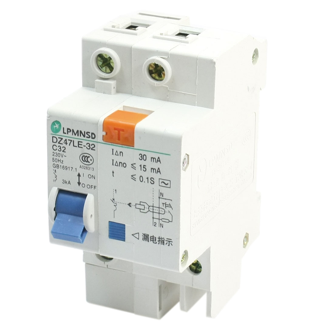 AC230V 32A DZ47LE-1P/32A DIN Dail 1P Rail Mounting Overload Proetction Circuit Breaker